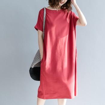 #0103 Summer Dress Women Short Sleeve Casual T-shirt Dress Cotton Oversized Loose Red Round Neck Vestidos Female