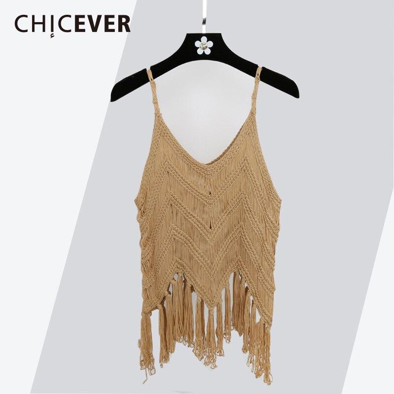 8ba42eb5bc766e CHICEVER 2018 Spring Summer Knitted Women Tank Top Sexy Spaghetti Strap  Tassel Hollow Short Tops Clothes Fashion Korean New