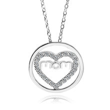 118110f5923f2 Nouveauté De Mode Creux de Coeur D'amour Maman collier pendentif en argent  Cristal Strass Amour Bijoux cadeau d'anniversaire Pou.