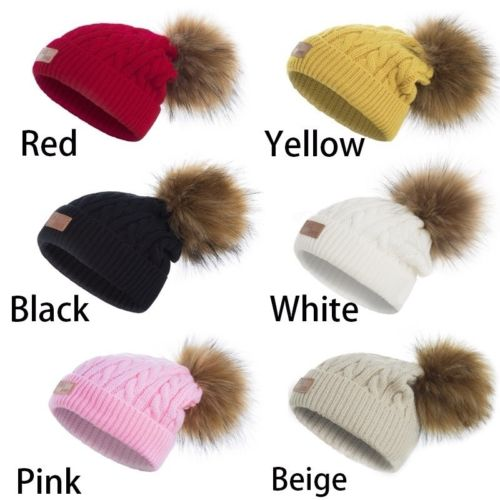 Pudcoco Lovely Child Baby Warm Winter Knit Raccoon Fur Pom Bobble Hat Crochet Ski Cap Mother & Kids