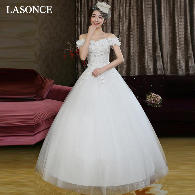 LASONCE Lace Flowers Appliques Boat Neck Sequined Ball Gown Wedding Dresses Crystal Off The Shoulder Backless Bridal Gowns in Wedding Dresses from Weddings Events