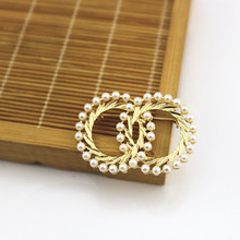 Scarf Imitation Pearl Shirts Lapel Pin Badge 1PC Double Circle Couple Alloy Hat Skirt For Women Men Gold Color Sweater Bag