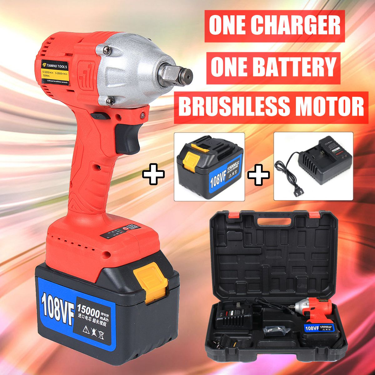 108V Cordless Impact Wrench 1/2 Rechargeable 15000mAh Lithium Battery 320Nm Brushless Electric Wrench 15000mah external rechargeable lithium polymer battery dc 12 6v