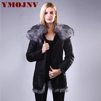 YMOJNV 2018 Luxury Faux Fox Collar Hooded Winter Jacket Women Black Large Sizes Cold Resistant Winter Coat Female Slim Outerwear