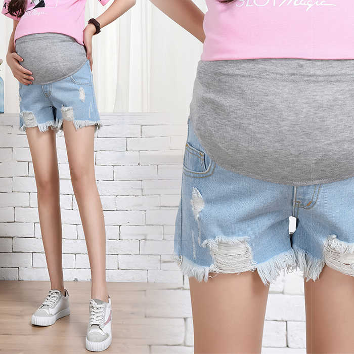 European and American style 2019 summer fashion pregnant women shorts jeans+holes adjustable waist maternity denim trousers cute