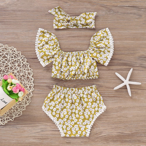 3pcs Newborn Toddler Baby Girls Summer Clothes Tank Tops+Floral Shorts Pants Outfits