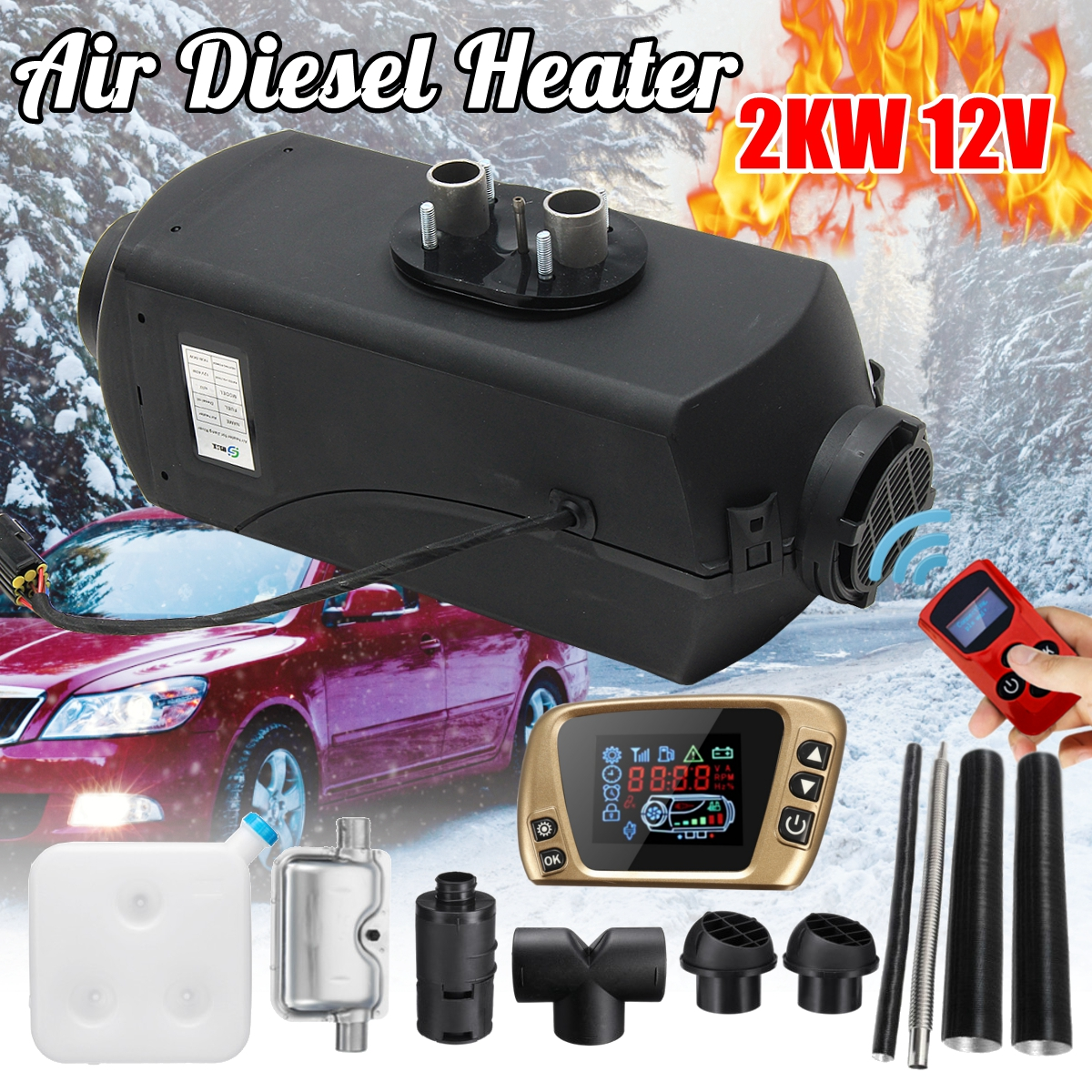12V 2kw Diesels Air Parking Heater Air Heating LCD Switch with Silencer and Remote Control For Trucks Boats Car Trailer Heater high quality intake silencer and exhaust muffler for air parking heater
