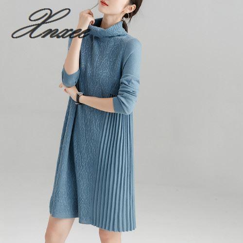 2019 nouveau chaud femmes automne hiver pull tricoté robes col roulé à manches longues dame élégante solide robe