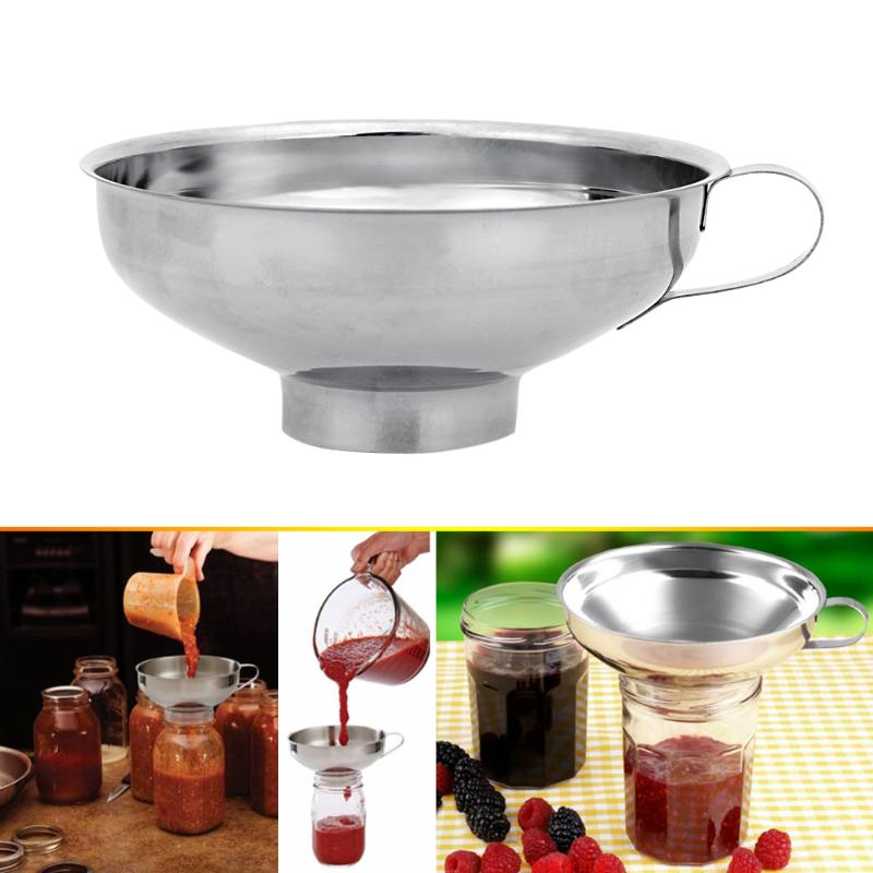 Kitchen Funnel with Wide Neck Transferring Liquid Trechter Canning Hopper Filter Stainless Steel Funnel