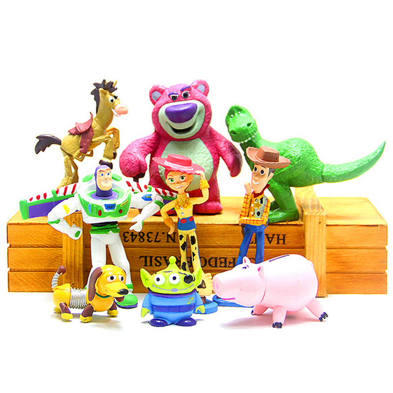 9pcs/set Toy Story 4 Buzz Lightyear Woody Jessie Dinosaur Bullseye <font><b>Horse</b></font> little green men Toy Story <font><b>Figure</b></font> Toys gift image