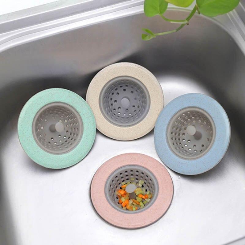 Sewer Hair Filter 1PC Sink Strainer Sink Colander Kitchen Accessories Bathroom Shower Drain Wheat Straw Silicone