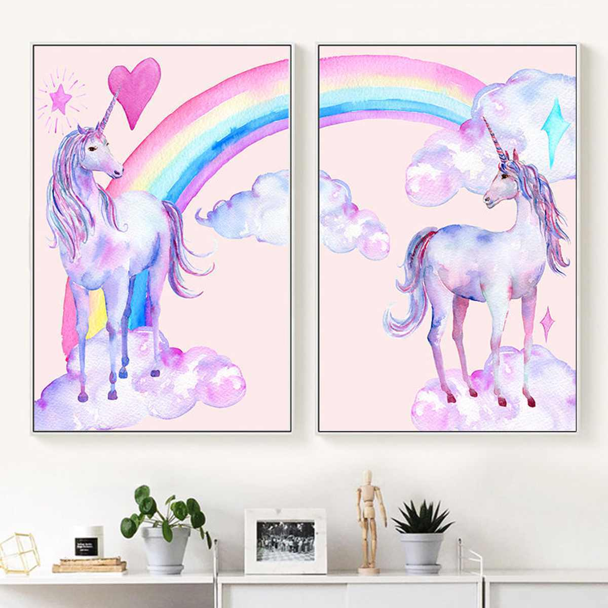20x25cm Nordic Style Canvas Oil Painting Rainbow Cartoon Unicorns Pink Horse Wall Mount Hanging Poster Home Room Decor Picture