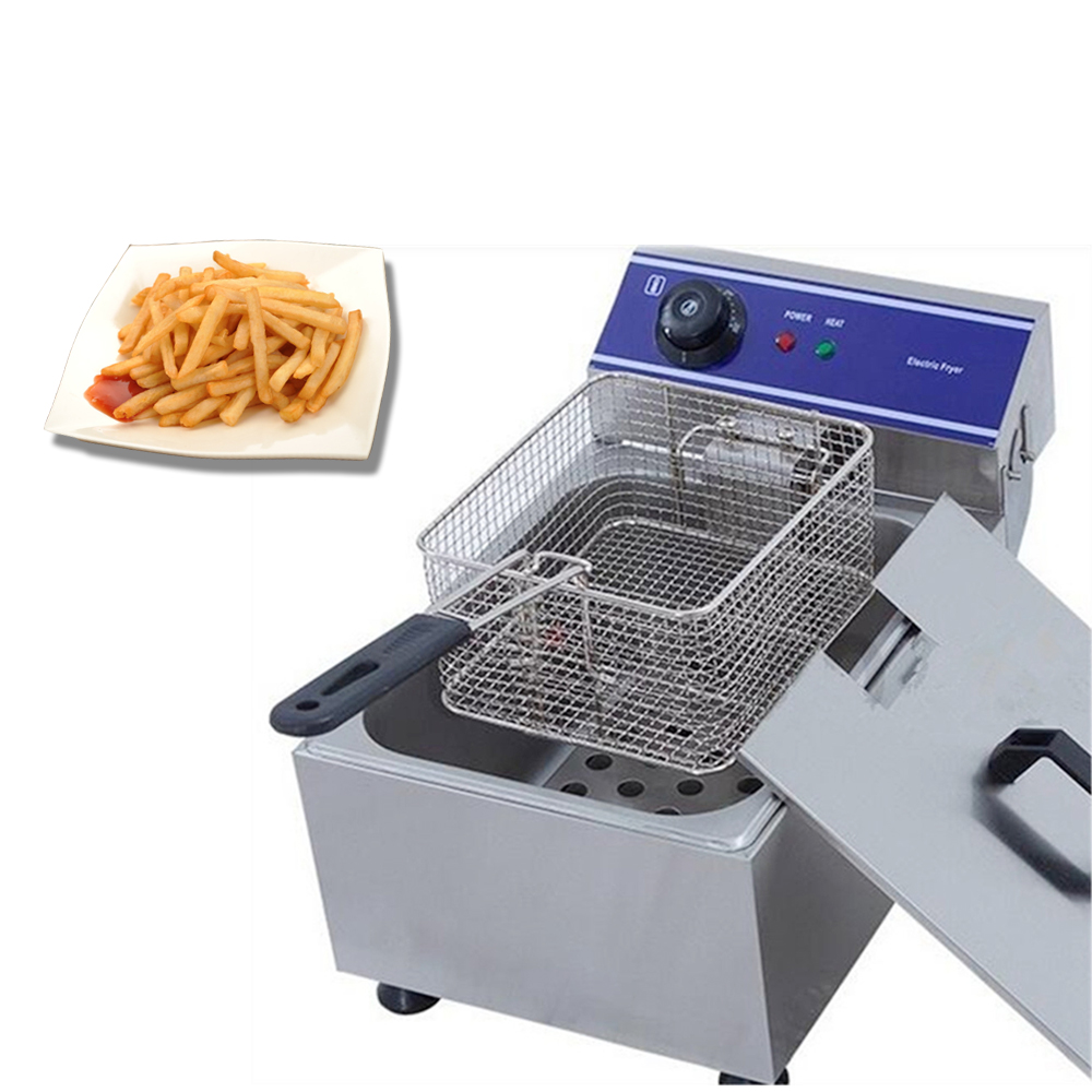 Commercial french fries Electric Deep Fat Fryer Single Tank Frying Pan Stainless Steel Chips Chicken Deep Fryer Frying MachineCommercial french fries Electric Deep Fat Fryer Single Tank Frying Pan Stainless Steel Chips Chicken Deep Fryer Frying Machine