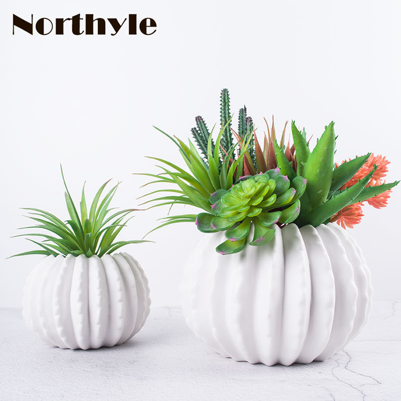 Set of 6 Artificial Plants Green Snow balls And Red Lotus Mini Lotus Grass
