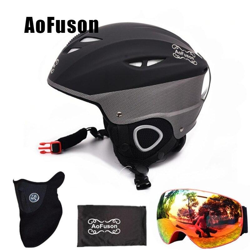 Snowboard Ski Helmet with Anti fog Ski Goggle Integrally molded Breathable Helmet Double Layers Anti fog