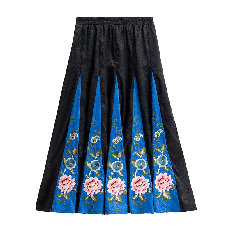 Pengpious 2019 autumn women's elastic high waist block color embroidery skirts high waist office lady vintage floral maxi skirts