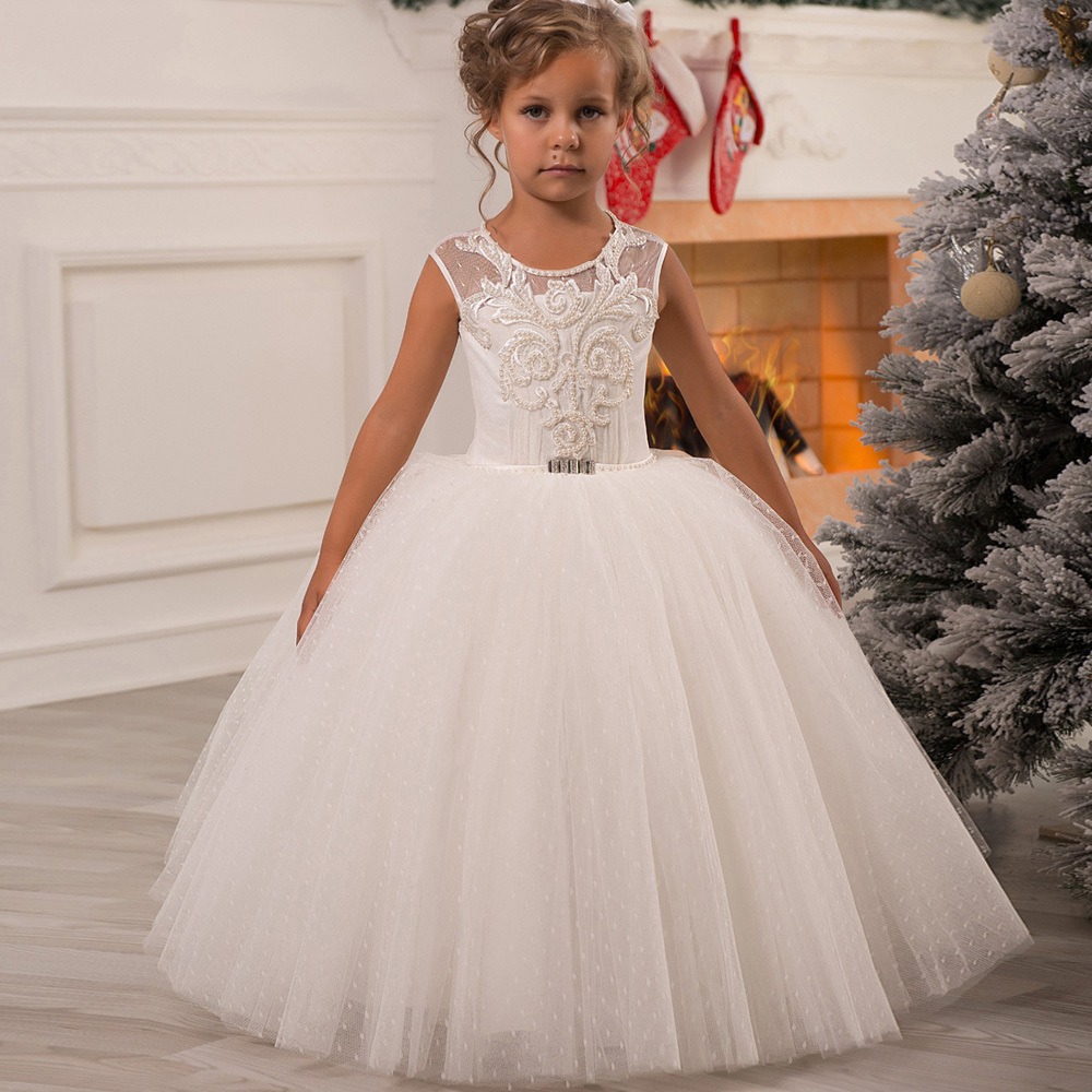 2019 New   Flower     Girl     Dresses   for   Girls   O-neck Sleeveless Ball Gown Lace Up First Communion Pageant Birthday Gowns Custom Made