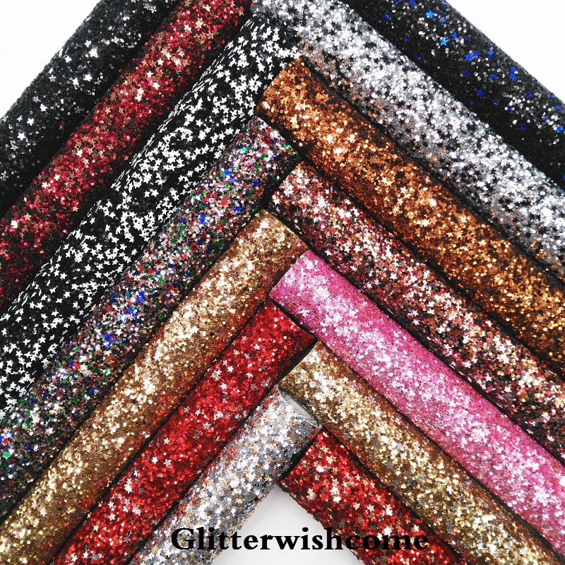 Glitterwishcome 30X134CM Mini Roll Synthetic Leather, Chunky Glitter Leather With Stars, Glitter  Fabric Vinyl For Bows, GM035