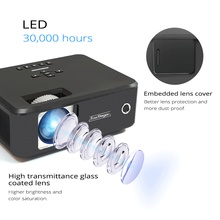 Portable Mini LED Smart Projector with Image Zoom for Home Theater