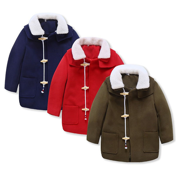 Boys lambs wool and cotton-padded overcoat long tweed coat of British style for childrenBoys lambs wool and cotton-padded overcoat long tweed coat of British style for children