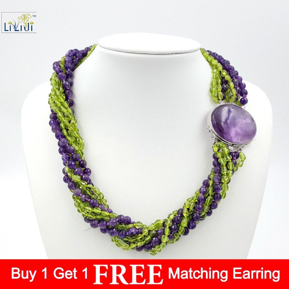 Améthyste naturelle & péridots 8 brins avec réglage en argent Sterling 925 améthyste fermoir mode femmes bijoux grand collier 21''