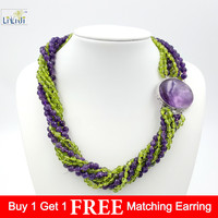 Natural Amethysts & Peridots 8 Strands with 925 Sterling Silver setting Amethysts Clasp Fashion Women Jewelry Big Necklace 21''