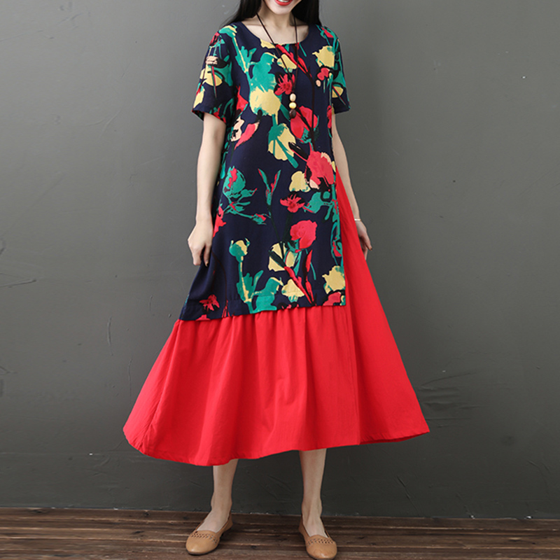 EaseHut Women Floral Printed Dress Splicing Short Sleeve Gown Loose Ethnic Wear 2019 Summer Vintage Dresses Female Robe Vestidos