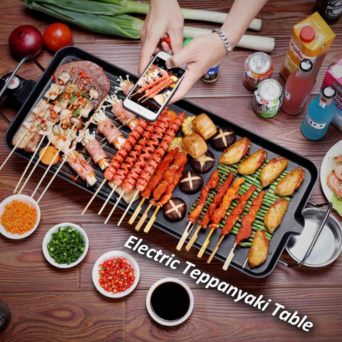 Table de Teppanyaki électrique antiadhésive de température réglable de gril de Barbecue électrique sans fumée portatif pour le Camping de partie de dîner