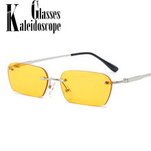 Rectangle Rimless Sunglasses Women Vintage Brand Designer Cat Eye sun Glasses Men Retro Small Yellow Glass UV400