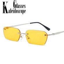 Rectangle Rimless Sunglasses Women Vintage Brand Designer Cat