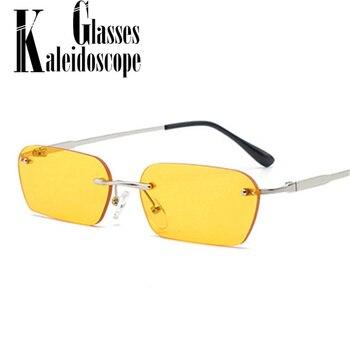 ef18dc688 Retângulo Sem Aro óculos de Sol Olho de Gato Óculos de sol Das Mulheres  Designer de Marca Do Vintage Homens Retro Pequeno Amarelo Vidro UV400