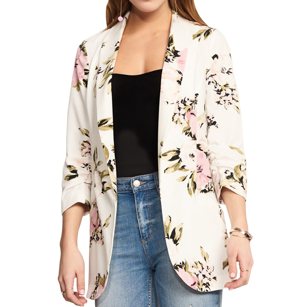 Women Blazer Suit 2019 New Fashion Chic Ol Size Plus Floral Printed Business Coat Office Lady Long Sleeve Office Jacket Outwear
