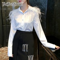 TWOTWINSTYLE White Shirts Blouse Female Long Sleeve Patchwork Feather Beading Women's Shirt Tops Autumn 2018 Fashion Clothes New
