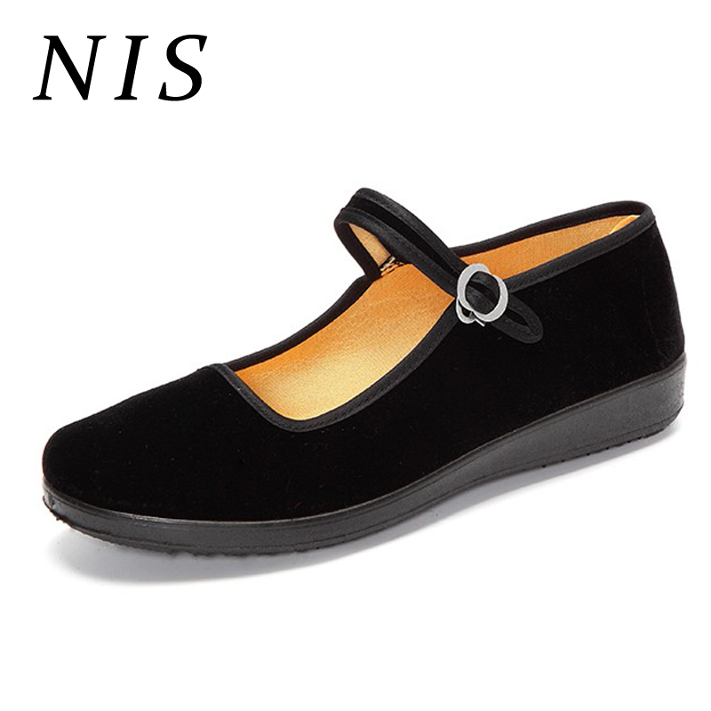 NIS Black Retro Women Flat Shoes Buckle Ankle Strap MaryJane Shoes Woman Chinese Style Work Flats Casual Sneakers Zapatos New