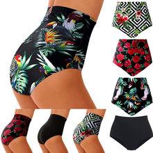Женский купальник с высокой талией, бикини, танкини, Шорты для плавания размера плюс, трусы с цветочным принтом