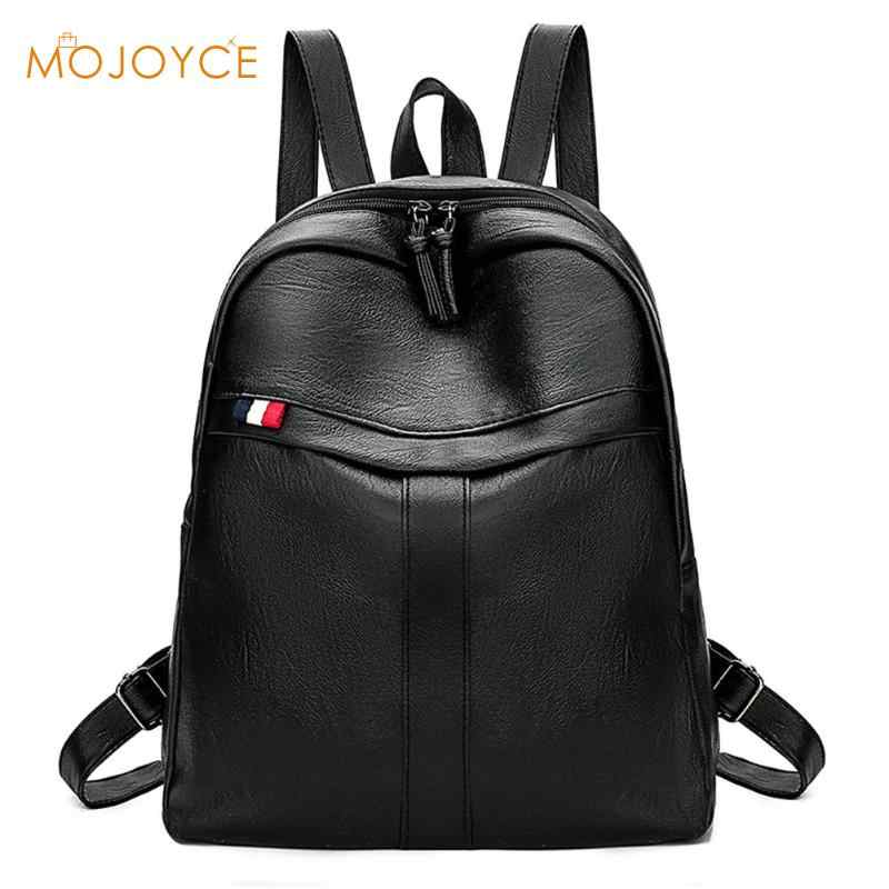 Backpack Women Pu Leather Female Backpacks Teenager School Mochila Feminina Women Solid Shoulder Travel School Bags