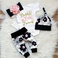 Одежда для новорожденных девочек Комбинезон с цветочным принтом + повязка на голову + штаны + шапка, комплект Горячая новинка, комплект для м...