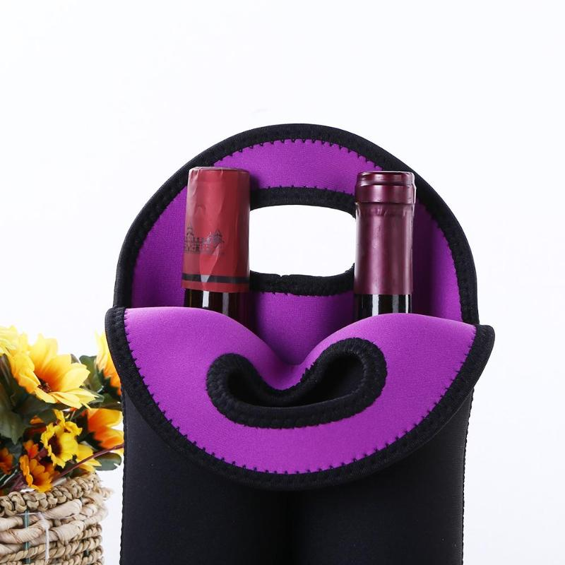 2019 Neoprene Bottle Wine Hand-held Neoprene Wine Bottles Cooler Neoprene Black Wine-bottle Bag Protective Sleeve Covers(China)