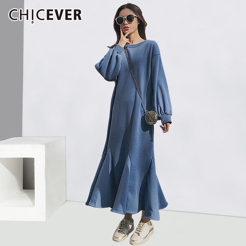 CHICEVER Dresses For Women Loose Plus Size O neck Puff Sleeve Autumn Ruffle Long Dress Female