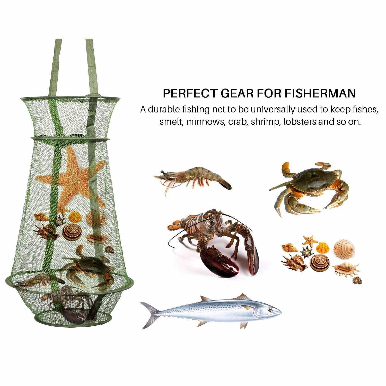 Malha da Rede De pesca Peixe Armadilha Gaiola Dobrável/Pesca Mantenha Net/Cesta para Manter o Iscas Lagostim Caranguejo Peixe acessórios