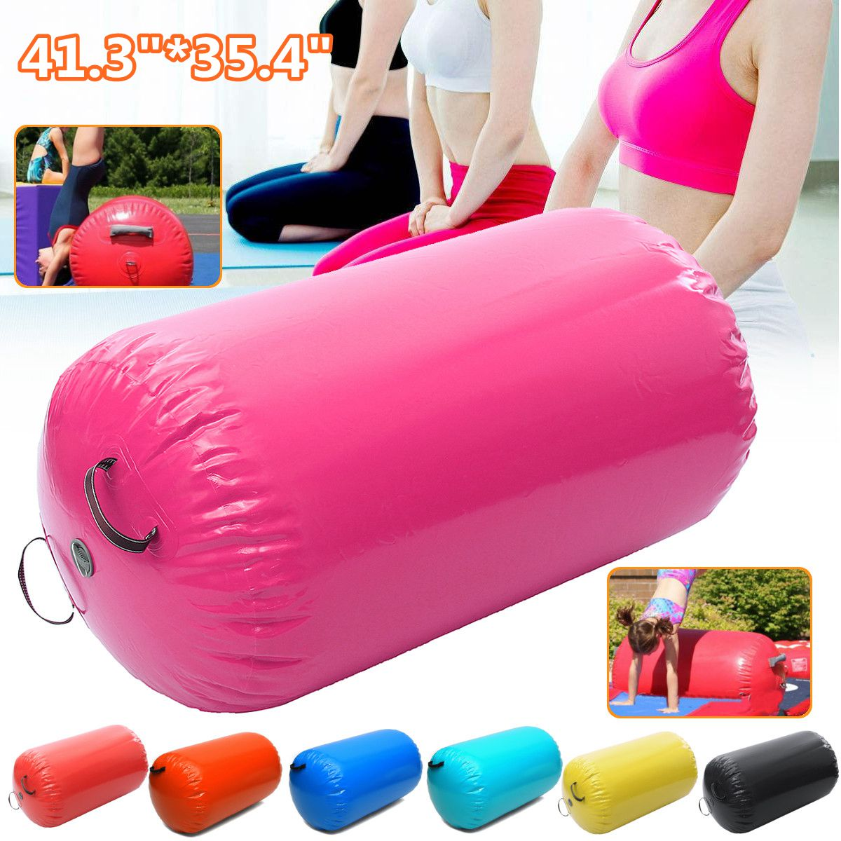 35,49x41,39 pulgadas 105x90 cm inflables de gimnasia aire rollos haz Yoga gimnasia cilindro Airtrack ejercicio