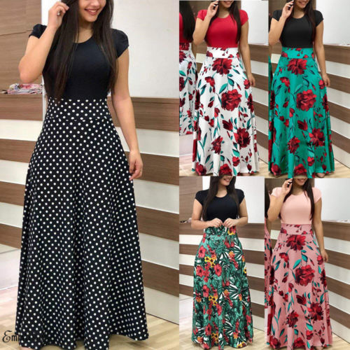 Sexy Women Summer Boho Long Maxi Evening Party Skirt Beach Skirt Floral Skirt
