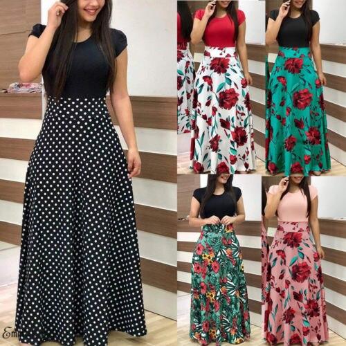Sexy Women Summer Boho Long Maxi Evening Party Skirt Beach Skirt Floral Skirt