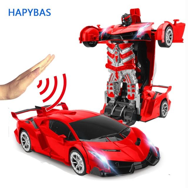 2,4 ГГц Индукционная Трансформация Робот автомобиль 1:14 деформация радиоуправляемая Игрушечная машина светодиоды, электрические приборы модели роботов fightint игрушки подарки