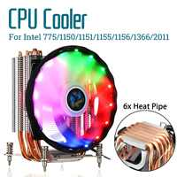 6 Heat Pipes CPU Cooler Cooling Quiet RGB Fan Cooler 120mm Fan Radiator Heatsink for Intel 775/1150/1151/1155/1156/1366/X79