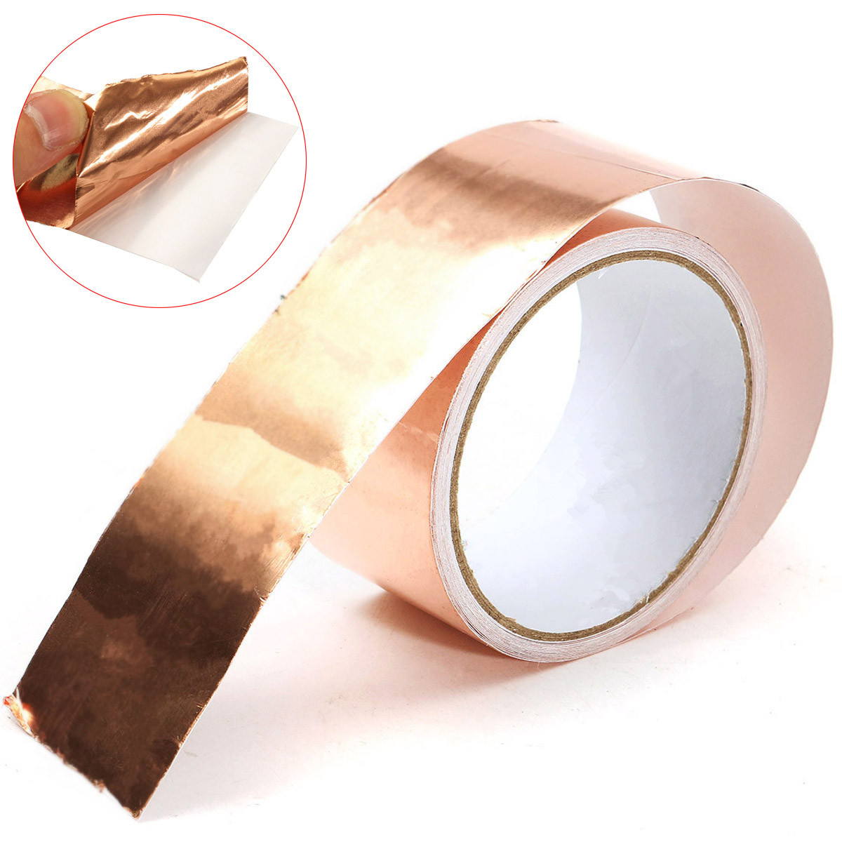 50mm X5m Pure Cooper Foil Tape EMI Single Side Conductive Foil Tape Strip Adhesive EMI Shielding Heat Resist Tape