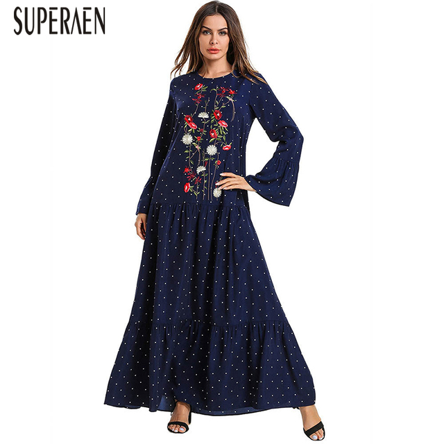 ae5bde2dfc0326f SuperAen Fashion Pluz Size Women S Print Dress Embroidered Long Sleeve  Dress Female Spring New 2019