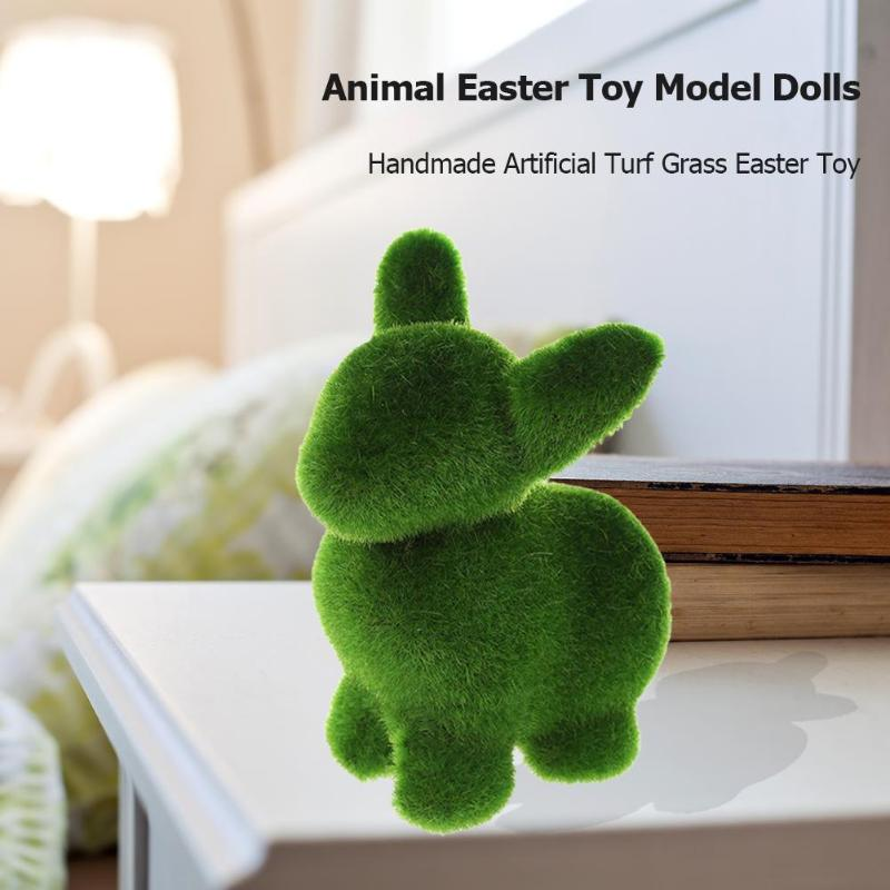 Handmade Artificial Turf Grass Animal Easter Toy Novelty Model Dolls Decor Educational Toys Kids Craft Rabbit Easter Toy Gifts