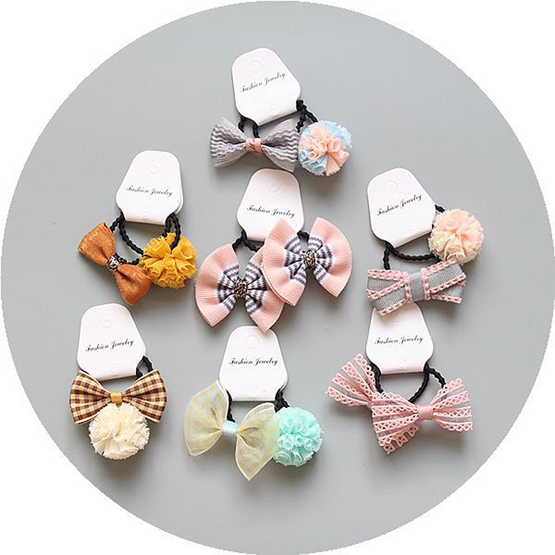 Bow-knot Flower Lace Ball Hair Rope Ponytail Holder Kids Girls Hair Ties Set Elastic Children Buterfly 1Pair Cute Adjustable
