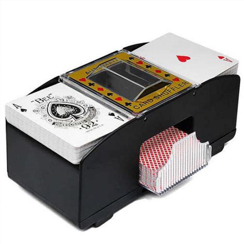 Jogo de tabuleiro Automático Card Poker Shuffler Baralhar Máquina de Jogo Elétrica Presente Engraçado Do Jogo Da Família De Madeira Clube Do Partido Acessório